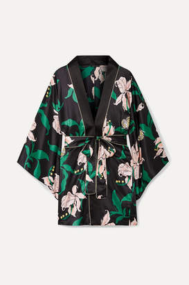 Morgan Lane - Nia Floral-print Satin Robe - Black