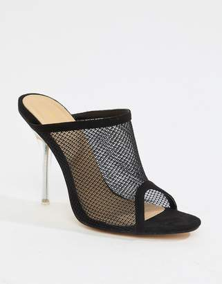 Public Desire Goalz black mesh clear heeled mules