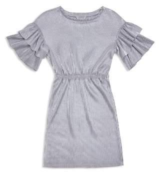Habitual Girls' Jayline Metallic Ruffle-Sleeve Dress - Big Kid