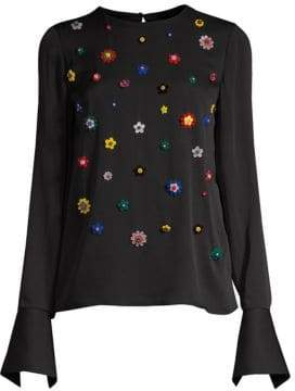 Milly Floral Beaded Silk Bell-Sleeve Top