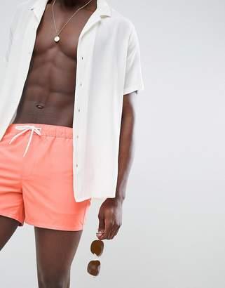 Asos Design Swim Shorts In Bright Orange Short Length