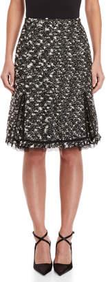 Giambattista Valli Lace Trim Boucle-Tweed A-Line Skirt