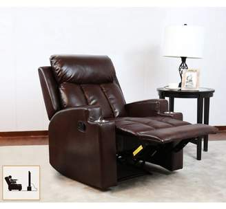 FRAMe WORK BONZY Recliner Chair Contemporary Theater Seating two Cup Holder Brown Leather Chairs for Modern Living room Durable Framework