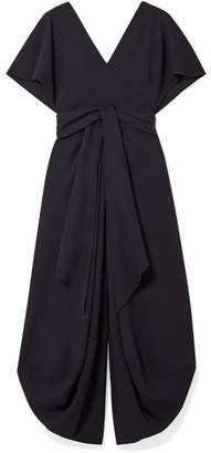 Jacquemus Souela Open-back Belted Wool-crepe Midi Dress - Navy