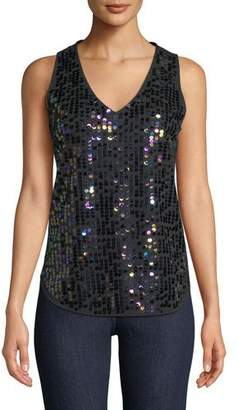 Joan Vass Sequin Front V-Neck Tank, Plus Size