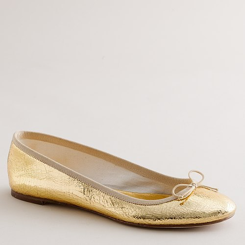 Claire crackle-metallic ballet flats