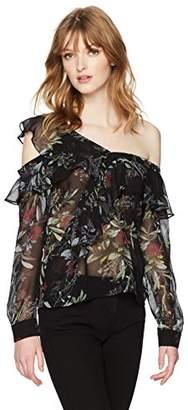 GUESS Women's Long Sleeve Winslow One Shoulder Top