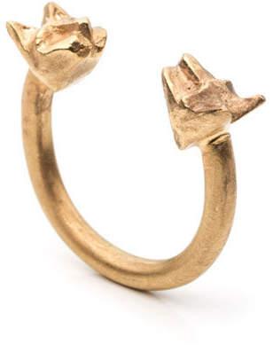 "By / Natalie Frigo Brass Ring ""Tiny Double Cat"""