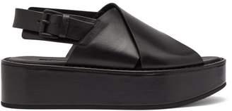 Ann Demeulemeester Cross Over Leather Flatform Sandals - Womens - Black