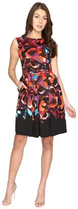 Maggy London Techno Blossom Scuba Fit and Flare Dress Women's Dress