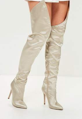 Missguided Beige Satin Over The Knee Boots