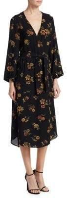 A.L.C. Wilma Floral Silk Kimono Midi Dress