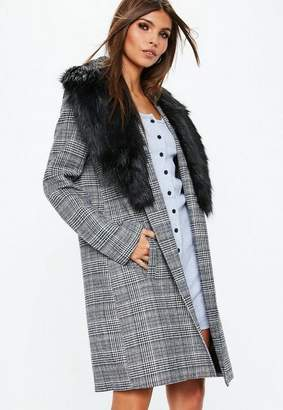 Missguided Gray Faux Fur Collar Plaid Coat