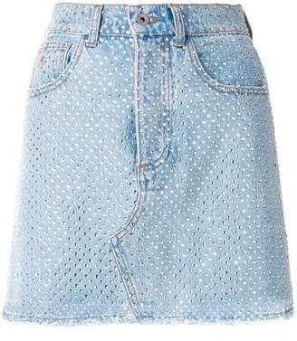 ATTICO crystal-embellished denim mini skirt