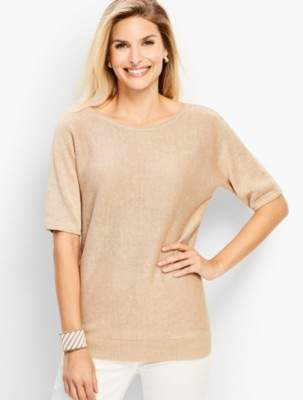 Talbots Linen Back-V-Neck Sweater- Metallic
