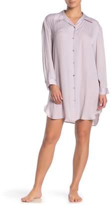 Josie Bardot Satin Pajama Shirt Dress