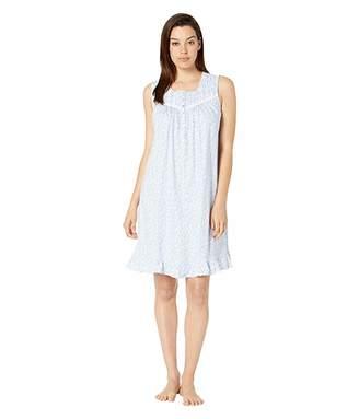 Eileen West Cotton Jersey Knit Sleeveless Short Nightgown