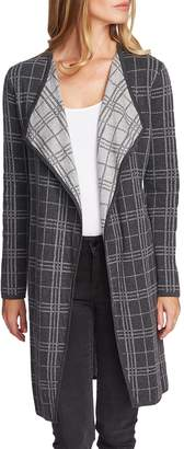 Vince Camuto Plaid-Print Maxi Cotton Cardigan