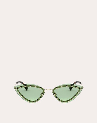 Valentino Triangular Metal Glasses With Crystal Studs Women Green 100% Metallic Fibre OneSize