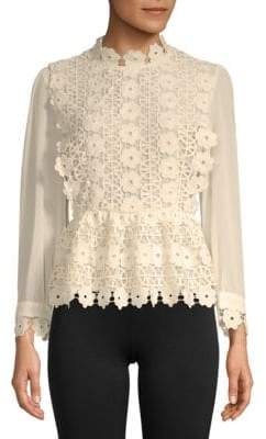ENGLISH FACTORY Mixed Media Lace Top