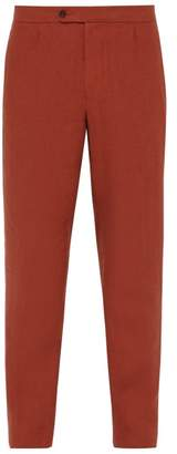 P. Johnson - Straight Leg Linen Trousers - Mens - Dark Orange