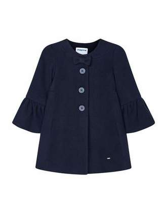 Mayoral Girl's Button Front Bow Coat, Size 4-7