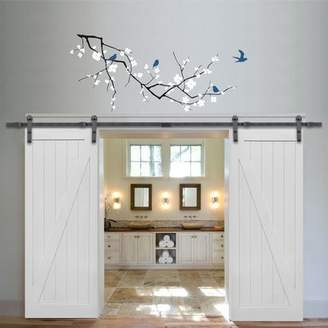URBAN RESEARCH Verona Home Design Double Stile and Rail Z Planked 2 Panel Interior Barn Door with Hardware