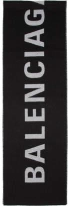 Balenciaga Black and White Archetype Jacquard Logo Scarf