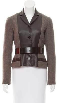 Christian Dior Leather-Accented Wool Blazer