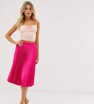 Outrageous Fortune pleated midi skirt in hot pink