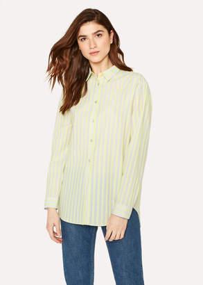 Paul Smith Women's Fluorescent Green Striped Cotton Shirt