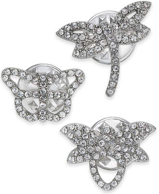I.n.c. Silver-Tone 3-Pc. Set Crystal Critter Pins, Created for Macy's