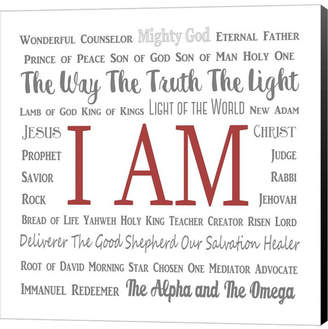 Names of Jesus Square Gray and Red Text by Inspire Me Canvas Art