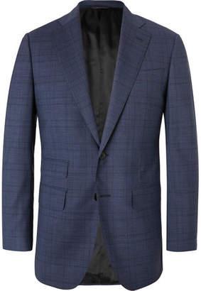 Thom Sweeney Navy Slim-Fit Prince Of Wales Checked Wool-Blend Suit Jacket