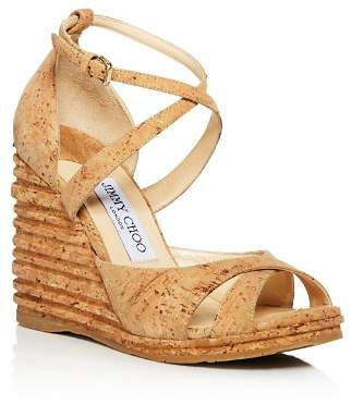 Jimmy Choo Women's Alanah 105 Cork Platform Wedge Sandals