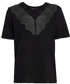 Maje Women's Mesh Illusion Cotton T-Shirt