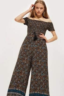 Band of Gypsies Shirred Bardot Jumpsuit