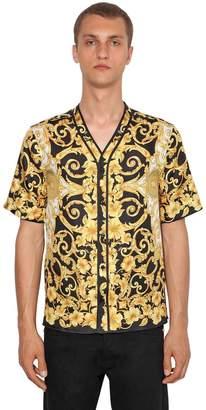 Versace Heritage Hibiscus Silk Bowling Shirt