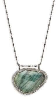 Kaia Emerald Slice Diamond Pendant Chain Necklace