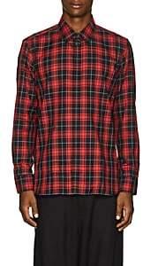 Neil Barrett Men's Pierced-Collar Plaid Cotton Shirt - Red