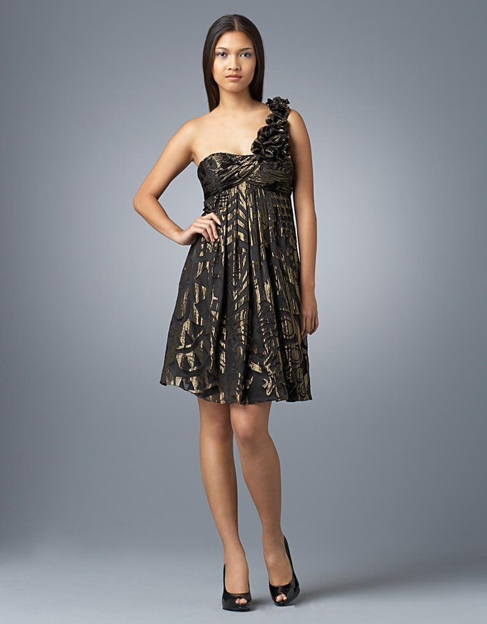Metallic Rosette Empire-Waist Dress
