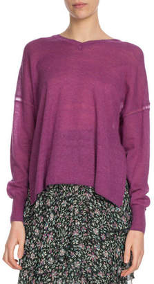 Etoile Isabel Marant Field V-Neck Side-Split Pullover Sweater