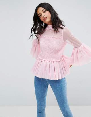 ASOS Smock Top with Shirring Detail & High Neck $45 thestylecure.com