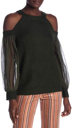 Flying Tomato Mesh Sleeve Cold Shoulder Sweater