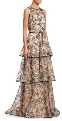 Theia Triple Flounce Cord-Embriodered Maxi Dress
