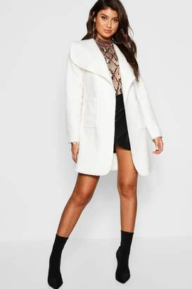 boohoo Belted Textured Shawl Collar Coat