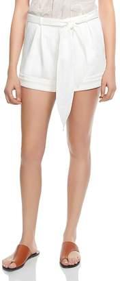 Halston Tie-Waist Sateen Shorts