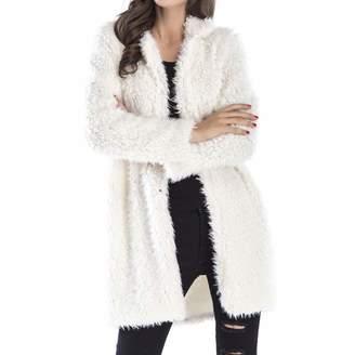 0270f1e0b363 Flocean Womens Fahion Shaggy Long Faux Fur Coat Jacket Winter Outwear Open  Front-L