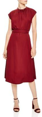 Sandro Conique Embellished-Collar Dress