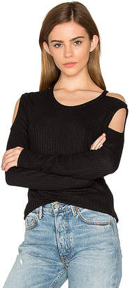 Chaser Thermal Cold Shoulder Tee in Black $70 thestylecure.com